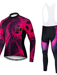 cheap -TELEYI Men's Long Sleeve Cycling Jersey with Bib Tights Red / White Black / Red Bike Thermal / Warm Windproof Quick Dry Winter Sports Solid Color Mountain Bike MTB Road Bike Cycling Clothing Apparel