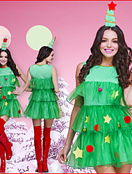 cheap -Christmas Trees Dress Women's Adults' Costume Party Christmas Christmas Cotton Dress / Headwear
