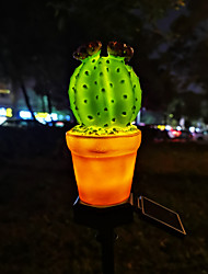 cheap -1pc 3 W Cactus /  Lawn Lights Waterproof / Solar / Creative Warm White 1.2 V Outdoor Lighting / Swimming pool / Courtyard 1 LED Beads  / Night  Light / Christmas / New Year's
