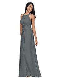 cheap -A-Line Halter Neck Floor Length Chiffon Bridesmaid Dress with Pleats / Ruching