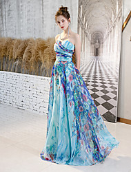 cheap -A-Line Strapless Floor Length Chiffon Color Block Formal Evening Dress with Pattern / Print 2020