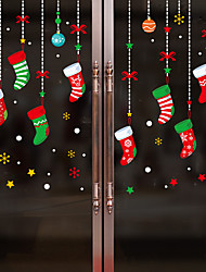 cheap -Window Film & Stickers Decoration Happy New Year / Christmas Geometric / Holiday / Character PVC(PolyVinyl Chloride) Window Film / Window Sticker / Door Sticker
