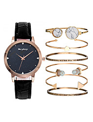 cheap -Women's Quartz Watches New Arrival Fashion Black White Blue PU Leather Quartz Black White Purple Chronograph New Design Adorable 1 set Analog