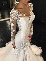 cheap -Mermaid / Trumpet V Neck Sweep / Brush Train Lace Long Sleeve Made-To-Measure Wedding Dresses with 2020