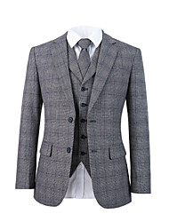 cheap -Gray plaid tweed wool custom suit