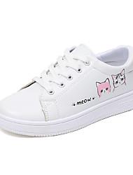 cheap -Women's Sneakers Flat Heel Round Toe Animal Print PU Casual Walking Shoes Spring & Summer / Fall & Winter Light Green / Pink / Gray