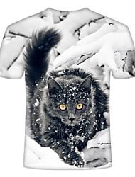 cheap -Men's Daily T-shirt - Animal White