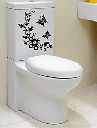 cheap -Butterfly vine bathroom flower vine toilet stickers bathroom toilet background decoration removable stickers A1076