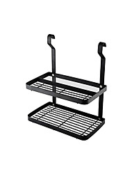 cheap -Black Kitchen Storage Rack Stainless Steel Wall-Mounted shelves Household Metal Fittings Hanging Rods Spice Rack