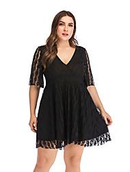 cheap -Women's Date Casual / Daily Basic Elegant Swing Dress - Solid Colored Black XL XXL XXXL XXXXL
