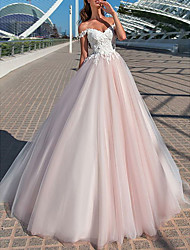 cheap -A-Line Wedding Dresses Off Shoulder Court Train Tulle Short Sleeve Romantic Illusion Detail with Appliques 2020