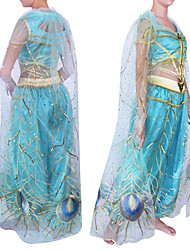 cheap -Princess Princess Jasmine Outfits Flower Girl Dress Women's Girls' Movie Cosplay A-Line Slip Princess Blue Top Pants Cloak Halloween Carnival Children's Day Tulle Silk Plain Sateen