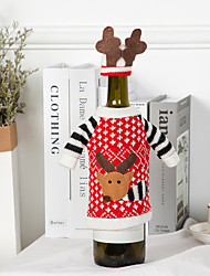 cheap -Christmas Red Wine Bottle Covers Bag Santa Clause  Champagne Bottle Covers Christmas Party Home Decor Table