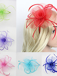 cheap -Women's Fascinators For Wedding Party Special Occasion Feather Fabric Red Pink Green