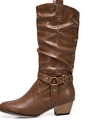 cheap -Women's Boots Comfort Shoes Chunky Heel Round Toe PU Mid-Calf Boots Winter Black / Brown / Khaki