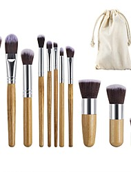 cheap -11 Pieces Makeup Brush Set Professional Bamboo Handle Premium Synthetic Foundation Blending Blush Concealer Eye Face Liquid Powder Cream Cosmetics Brushes Kit With Hessian Bag