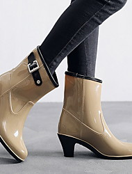 cheap -Women's Boots Rain Boots Chunky Heel Round Toe PU Booties / Ankle Boots Winter Black / White