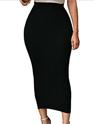 cheap -Women's Bodycon Skirts - Solid Colored Black Wine White S M L