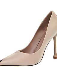 cheap -Women's Heels Stiletto Heel Pointed Toe Satin Minimalism Spring & Summer Black / Almond / Champagne / Party & Evening