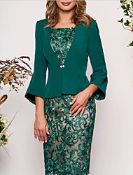 cheap -Women's Two Piece Dress - 3/4 Length Sleeve Geometric Lace Elegant Slim Green M L XL XXL XXXL