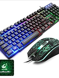 cheap -Russian Layout Letters Luminous Keyboard with Mouse and Pad 3 Pcs a Backlit Gamer for Desktop