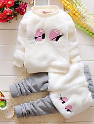 cheap -Baby Girls' Basic Print Patchwork Long Sleeve Regular Regular Clothing Set White