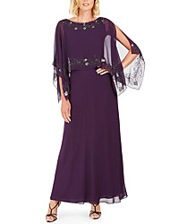 cheap -A-Line Jewel Neck Ankle Length Chiffon / Sequined 3/4 Length Sleeve Elegant & Luxurious Mother of the Bride Dress with Beading 2020