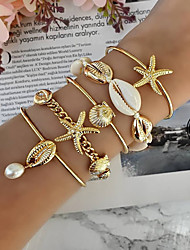 cheap -5pcs Women's Bracelet Bangles Cuff Bracelet Bracelet Layered Starfish Shell Classic Vintage Trendy Fashion Boho Imitation Pearl Bracelet Jewelry Gold For Gift Daily School Holiday Festival