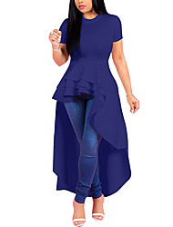 cheap -Women's Going out Casual / Daily Street chic Elegant Sheath Swing Trumpet / Mermaid Dress - Solid Colored Ruffle Patchwork Black Wine White S M L XL