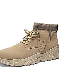 cheap -Men's Suede Shoes Suede Fall & Winter Boots Booties / Ankle Boots Black / Beige / Gray