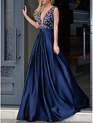 cheap -A-Line Plunging Neck Sweep / Brush Train Satin Open Back Prom / Formal Evening Dress 2020 with Beading