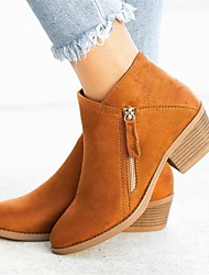 cheap -Women's Boots Low Heel Pointed Toe Suede Booties / Ankle Boots Casual / Minimalism Spring / Fall & Winter Black / Orange / Blue