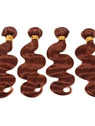 "cheap -4 Bundles Brazilian Hair Body Wave Remy Human Hair Human Hair Precolored Hair Weaves Human Hair Extensions 12""~22"" Brown Human Hair Weaves Natural Best Quality For Black Women Human Hair Extensions"
