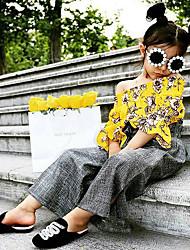cheap -Baby Girls' Basic Print Long Sleeve Regular Regular Clothing Set Yellow