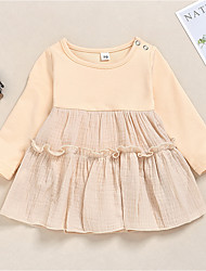 cheap -Baby Girls' Basic Solid Colored Long Sleeve Dress Blushing Pink