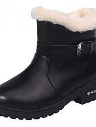 cheap -Women's Boots Flat Heel Round Toe PU Booties / Ankle Boots Fall & Winter Black