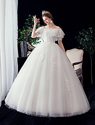cheap -A-Line / Ball Gown Off Shoulder Maxi Polyester / Lace / Tulle Short Sleeve Made-To-Measure Wedding Dresses with Embroidery / Lace 2020