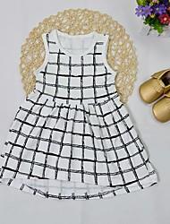cheap -Baby Girls' Active Basic Check Print Sleeveless Knee-length Dress White