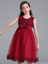 cheap -Ball Gown / Princess Knee Length Flower Girl Dress - Tulle / Poly&Cotton Blend Sleeveless Jewel Neck with Bow(s) / Sash / Ribbon / Cascading Ruffles / Formal Evening