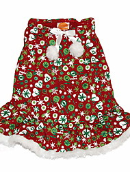cheap -Dog Costume Dress Winter Dog Clothes Red Costume Polyster Print Cosplay Christmas XXS S M