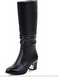 cheap -Women's Boots Chunky Heel Round Toe PU Mid-Calf Boots Winter Black / White