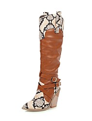 cheap -Women's Boots Cowboy / Western Boots Chunky Heel Pointed Toe Buckle PU / Snakeskin Knee High Boots Vintage / British Spring &  Fall / Fall & Winter Black / Brown / Party & Evening