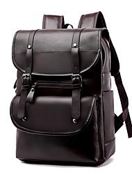 Недорогие -Большая вместимость Кожа PU Молнии / Несколько слоев рюкзак Школа Черный / Хаки / Коричневый / Муж. / Наступила зима