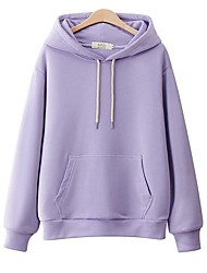 cheap -Women's Casual Hoodie - Solid Colored Purple S