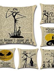 cheap -6 pcs Linen Pillow Cover, Holiday Skull Cartoon Halloween Throw Pillow