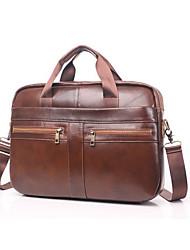 cheap -Men's Bags Cowhide Shoulder Messenger Bag Laptop Bag Briefcase Belt Zipper Solid Color Handbags Daily Office & Career Brown