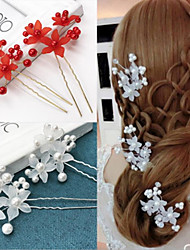 cheap -Pearl / Plastic Flowers with Pearls / Solid 4pcs Wedding / Special Occasion Headpiece