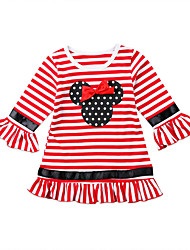 cheap -Baby Girls' Active Striped / Print Bow / Print Long Sleeve Dress Red