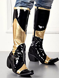 cheap -Men's Fashion Boots Synthetics Winter / Fall & Winter Classic / British Boots Warm Knee High Boots Black / Party & Evening