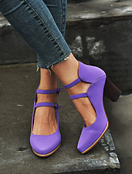 cheap -Women's Heels Chunky Heel Pointed Toe Buckle PU Vintage / Casual Spring &  Fall / Spring & Summer Purple / Blue / Gray / Party & Evening